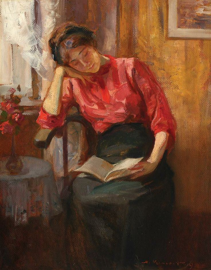 Reading (1919). Nicolae Vermont (Romanian, 1866-1932). Oil on cardboard.
