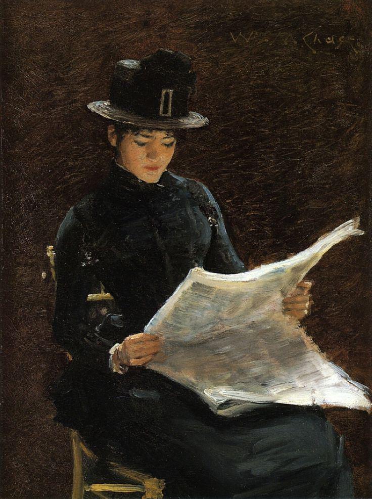 The Morning News (1886). William Merritt Chase (American, 1849-1916). Oil on panel.