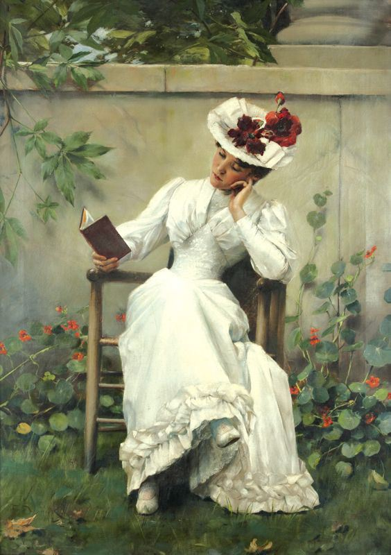 Lady with a Book in the Garden (1892) by Brunner František Dvořák (1862-1927). Oil on canvas.